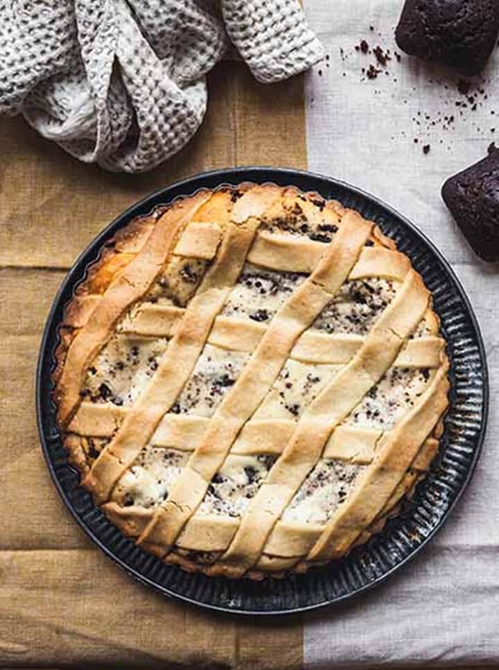 Crostata alla ricotta con Mini Cake al Cioccolato Senza Zucchero Céréal