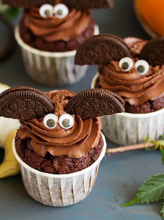 Cupcake a forma di pipistrello