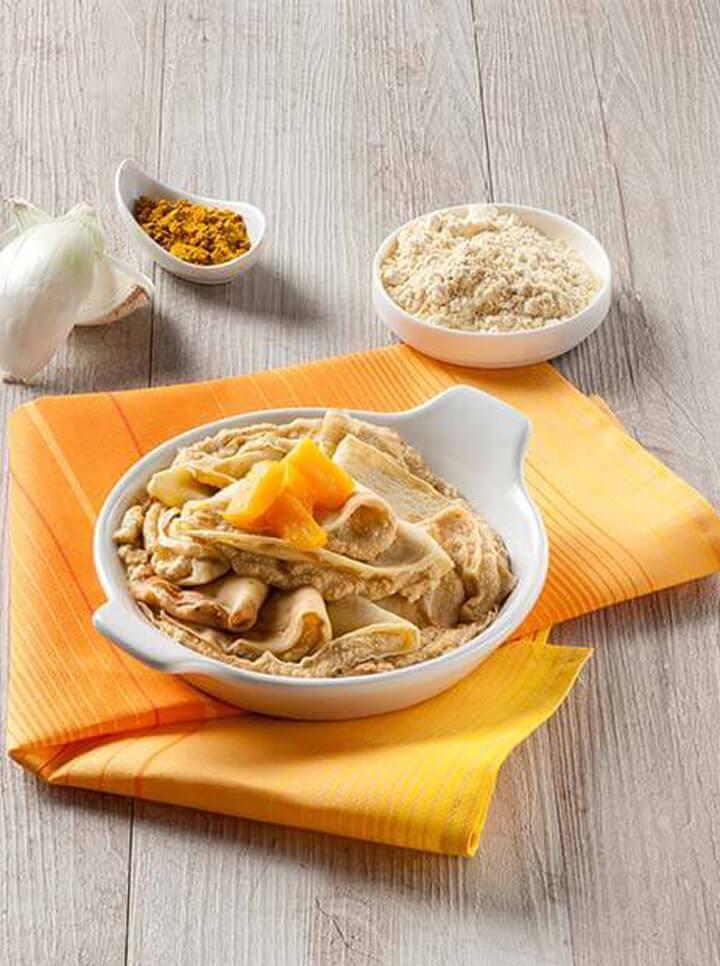 Crespelle ripiene di zucca, tofu e curry